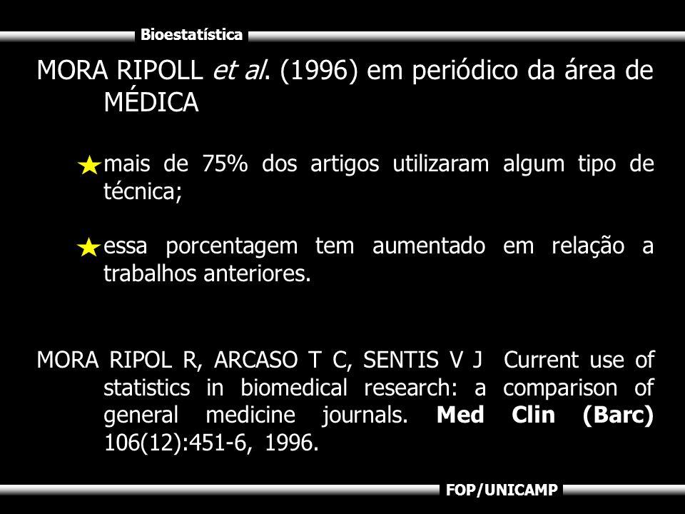 Bioestatística FOP/UNICAMP MORA RIPOLL et al. (1996) em periódico da área de MÉDICA mais de 75% dos artigos utilizaram algum tipo de técnica; essa por