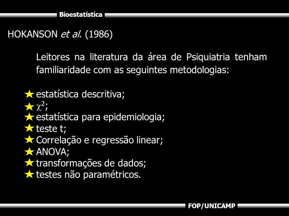 Bioestatística FOP/UNICAMP HOKANSON et al. (1986) Leitores na literatura da área de Psiquiatria tenham familiaridade com as seguintes metodologias: es