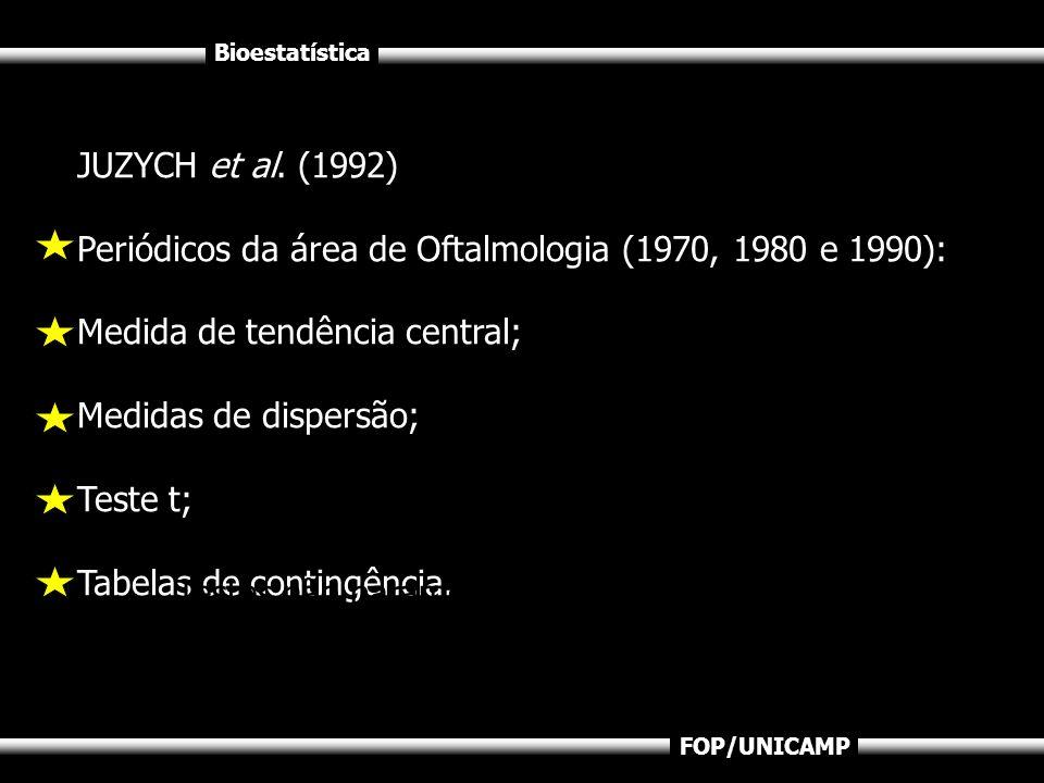 Bioestatística FOP/UNICAMP JUZYCH et al. (1992) Periódicos da área de Oftalmologia (1970, 1980 e 1990): Medida de tendência central; Medidas de disper