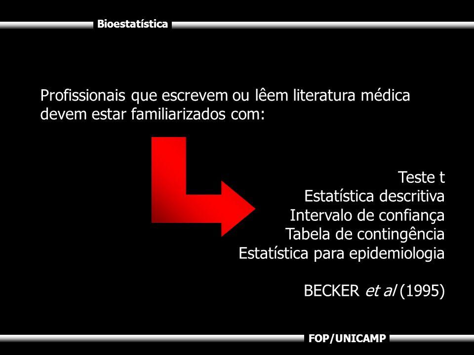 Bioestatística FOP/UNICAMP Profissionais que escrevem ou lêem literatura médica devem estar familiarizados com: Teste t Estatística descritiva Interva