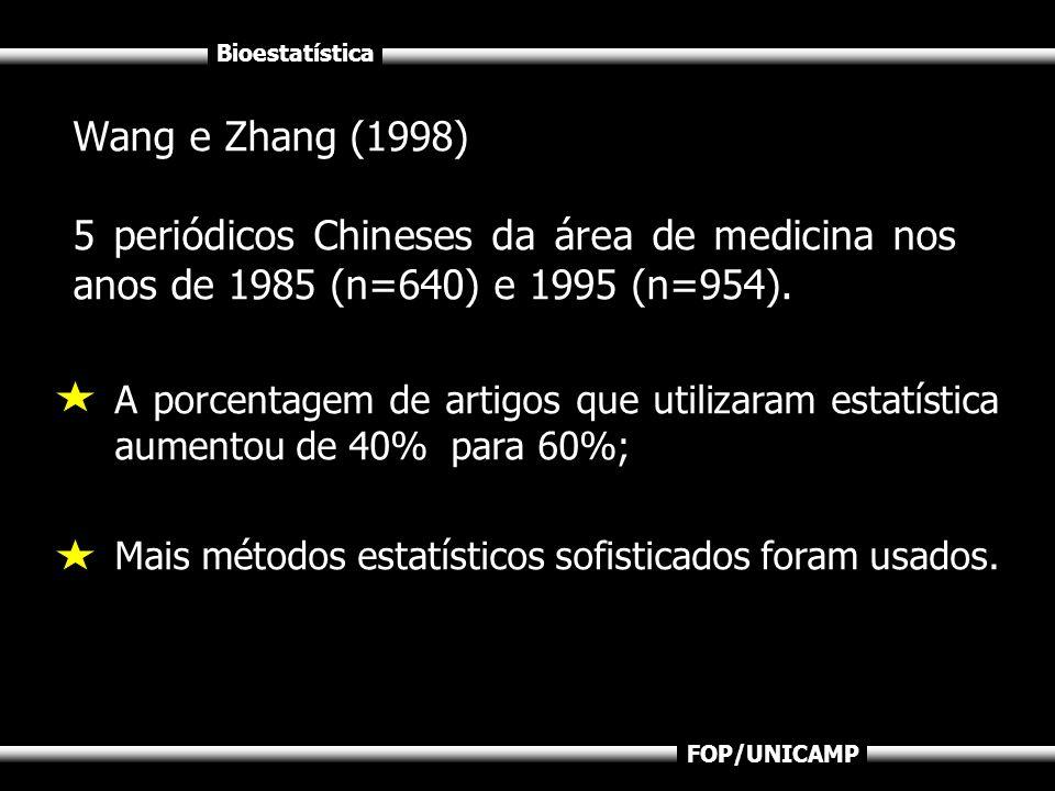 Bioestatística FOP/UNICAMP Wang e Zhang (1998) 5 periódicos Chineses da área de medicina nos anos de 1985 (n=640) e 1995 (n=954). A porcentagem de art