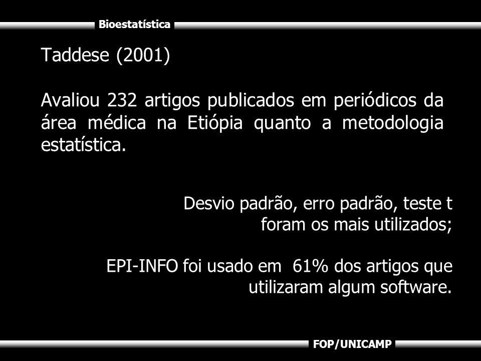 Bioestatística FOP/UNICAMP Taddese (2001) Avaliou 232 artigos publicados em periódicos da área médica na Etiópia quanto a metodologia estatística. Des