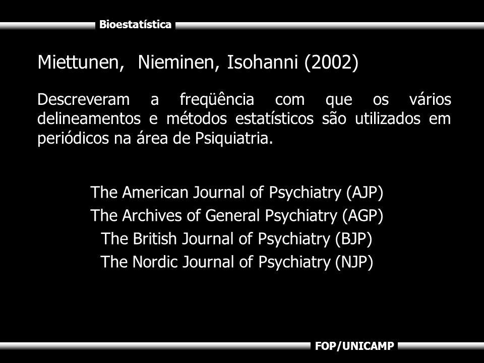 Bioestatística FOP/UNICAMP Miettunen, Nieminen, Isohanni (2002) Descreveram a freqüência com que os vários delineamentos e métodos estatísticos são ut