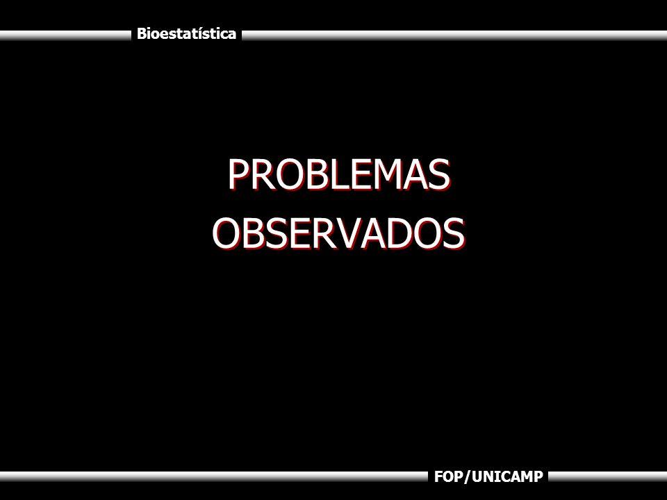 Bioestatística FOP/UNICAMP PROBLEMAS OBSERVADOS PROBLEMAS OBSERVADOS