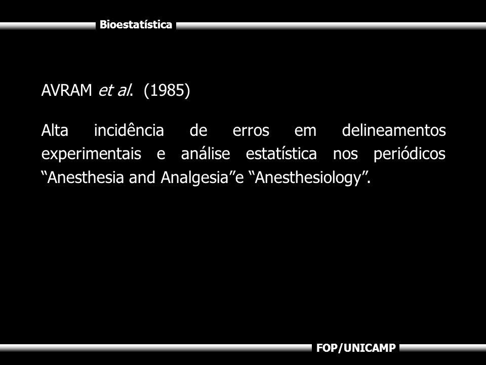 Bioestatística FOP/UNICAMP AVRAM et al. (1985) Alta incidência de erros em delineamentos experimentais e análise estatística nos periódicos Anesthesia