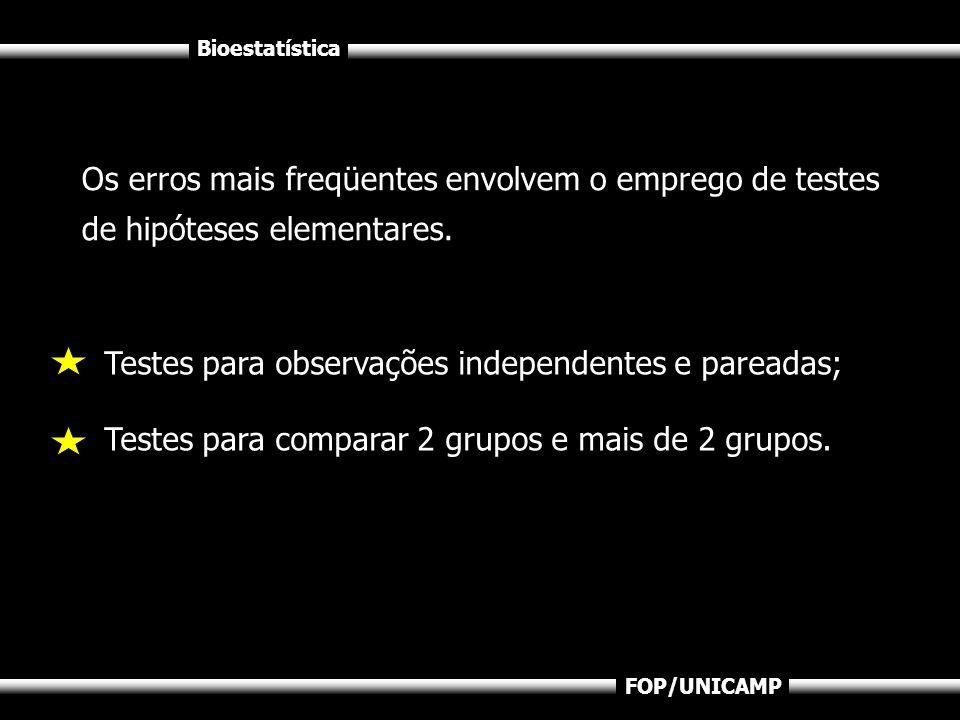 Bioestatística FOP/UNICAMP Testes para observações independentes e pareadas; Testes para comparar 2 grupos e mais de 2 grupos. Os erros mais freqüente