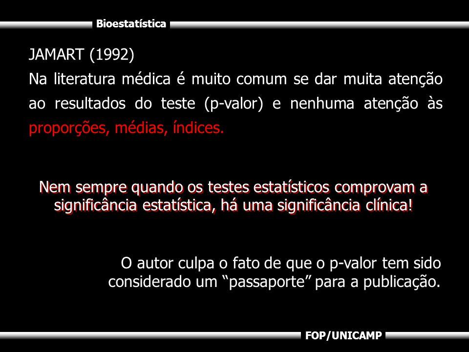 Bioestatística FOP/UNICAMP JAMART (1992) Na literatura médica é muito comum se dar muita atenção ao resultados do teste (p-valor) e nenhuma atenção às