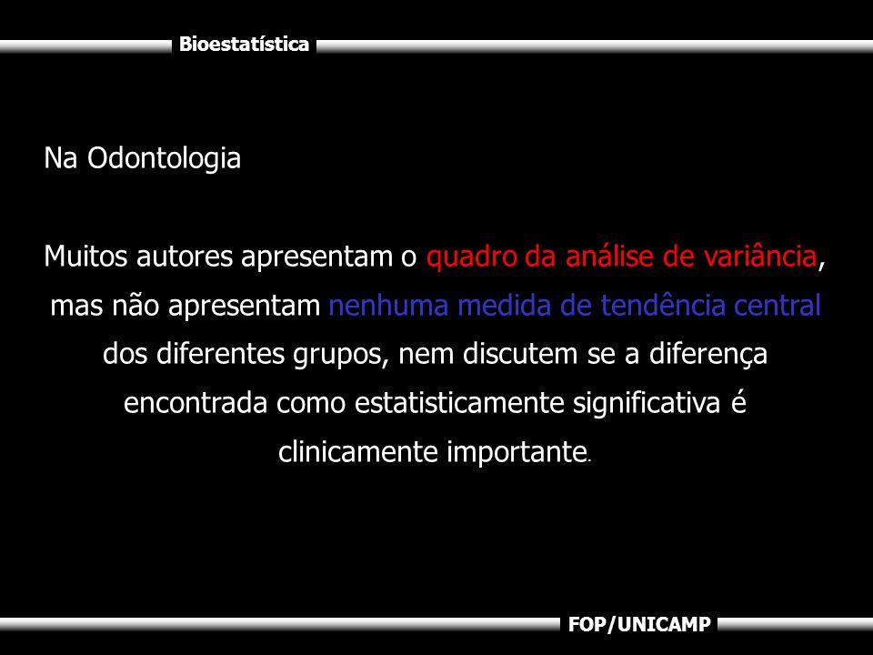 Bioestatística FOP/UNICAMP Na Odontologia Muitos autores apresentam o quadro da análise de variância, mas não apresentam nenhuma medida de tendência c