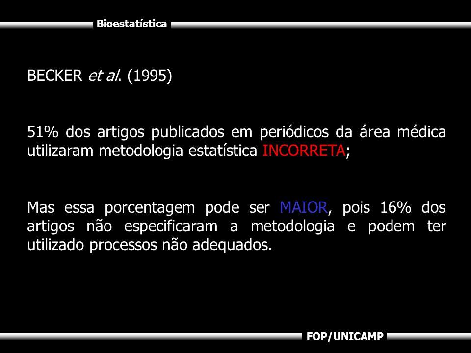 Bioestatística FOP/UNICAMP BECKER et al. (1995) 51% dos artigos publicados em periódicos da área médica utilizaram metodologia estatística INCORRETA;