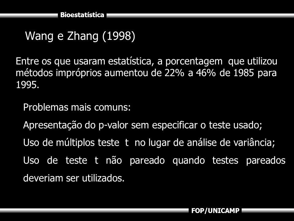 Bioestatística FOP/UNICAMP Wang e Zhang (1998) Entre os que usaram estatística, a porcentagem que utilizou métodos impróprios aumentou de 22% a 46% de