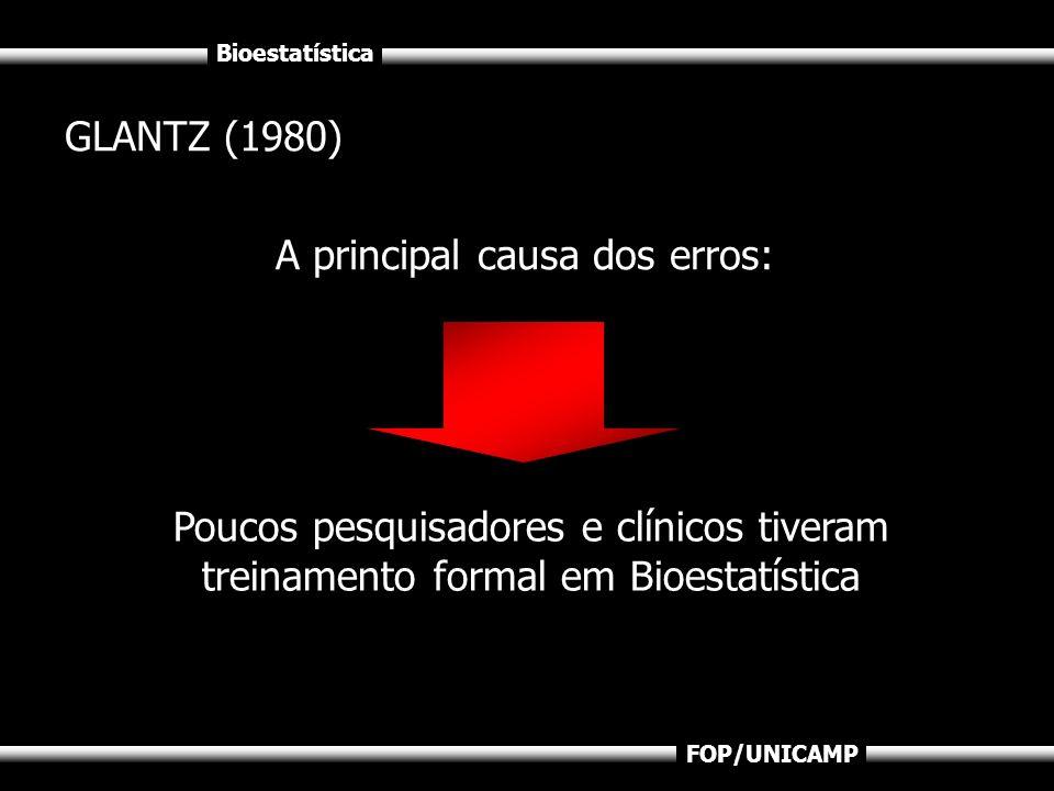 Bioestatística FOP/UNICAMP GLANTZ (1980) A principal causa dos erros: Poucos pesquisadores e clínicos tiveram treinamento formal em Bioestatística
