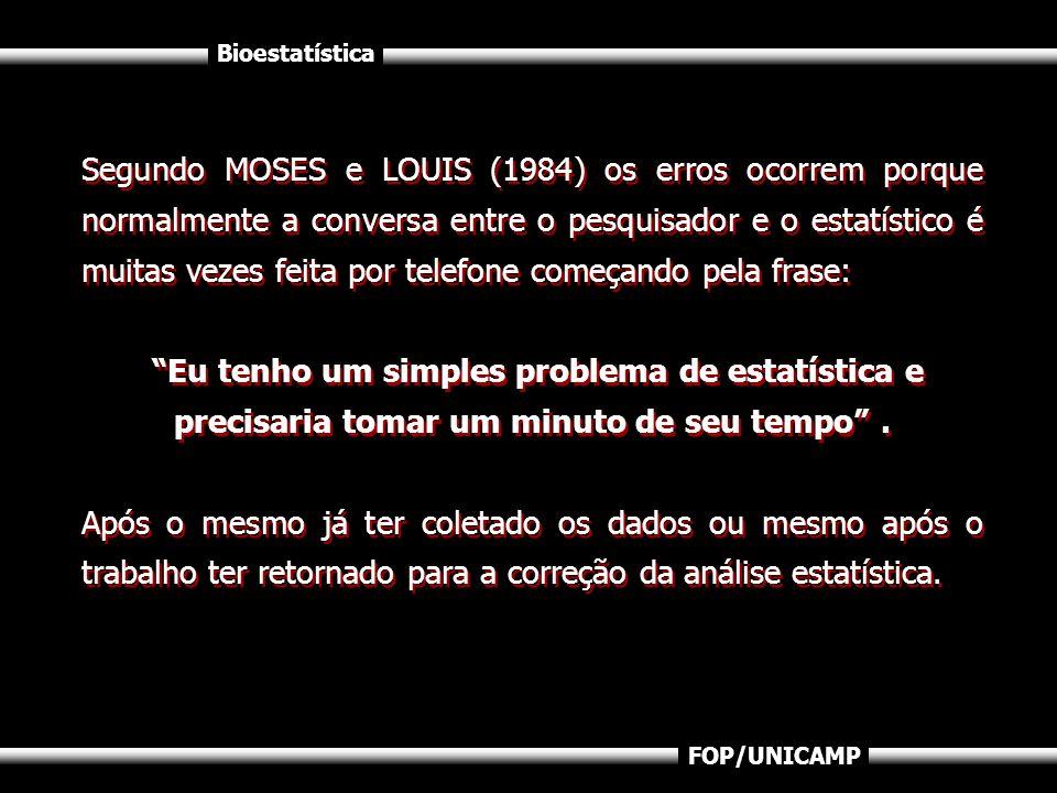 Bioestatística FOP/UNICAMP Segundo MOSES e LOUIS (1984) os erros ocorrem porque normalmente a conversa entre o pesquisador e o estatístico é muitas ve