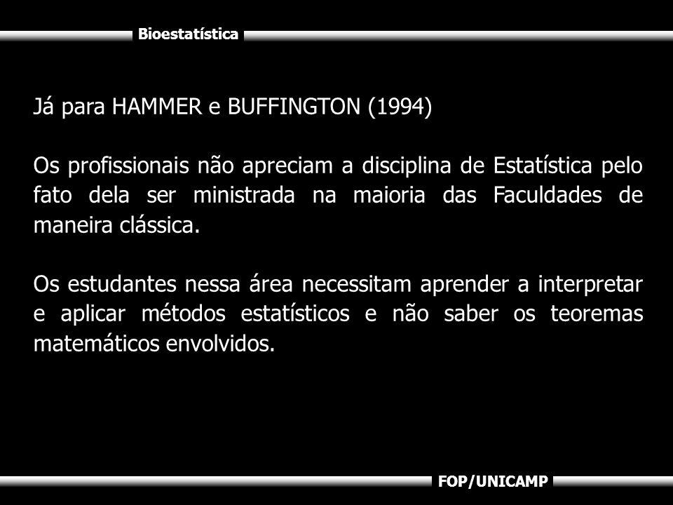 Bioestatística FOP/UNICAMP Já para HAMMER e BUFFINGTON (1994) Os profissionais não apreciam a disciplina de Estatística pelo fato dela ser ministrada