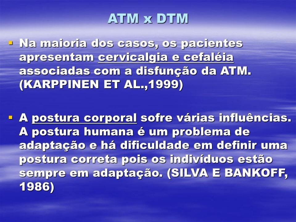 ATM x DTM Na maioria dos casos, os pacientes apresentam cervicalgia e cefaléia associadas com a disfunção da ATM. (KARPPINEN ET AL.,1999) Na maioria d