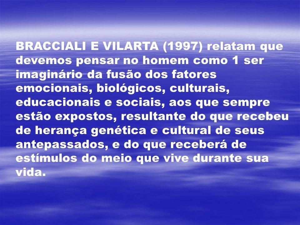 BRACCIALI E VILARTA (1997) relatam que devemos pensar no homem como 1 ser imaginário da fusão dos fatores emocionais, biológicos, culturais, educacion