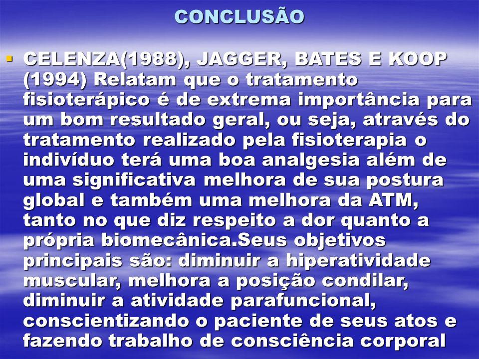 CONCLUSÃO CELENZA(1988), JAGGER, BATES E KOOP (1994) Relatam que o tratamento fisioterápico é de extrema importância para um bom resultado geral, ou s