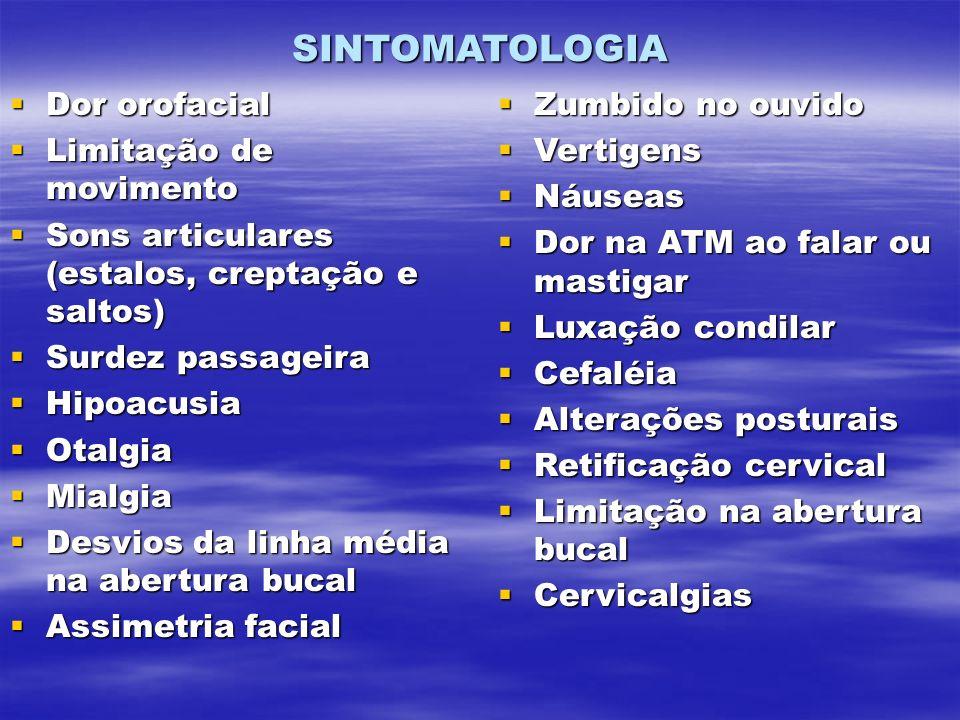 SINTOMATOLOGIA Dor orofacial Dor orofacial Limitação de movimento Limitação de movimento Sons articulares (estalos, creptação e saltos) Sons articular