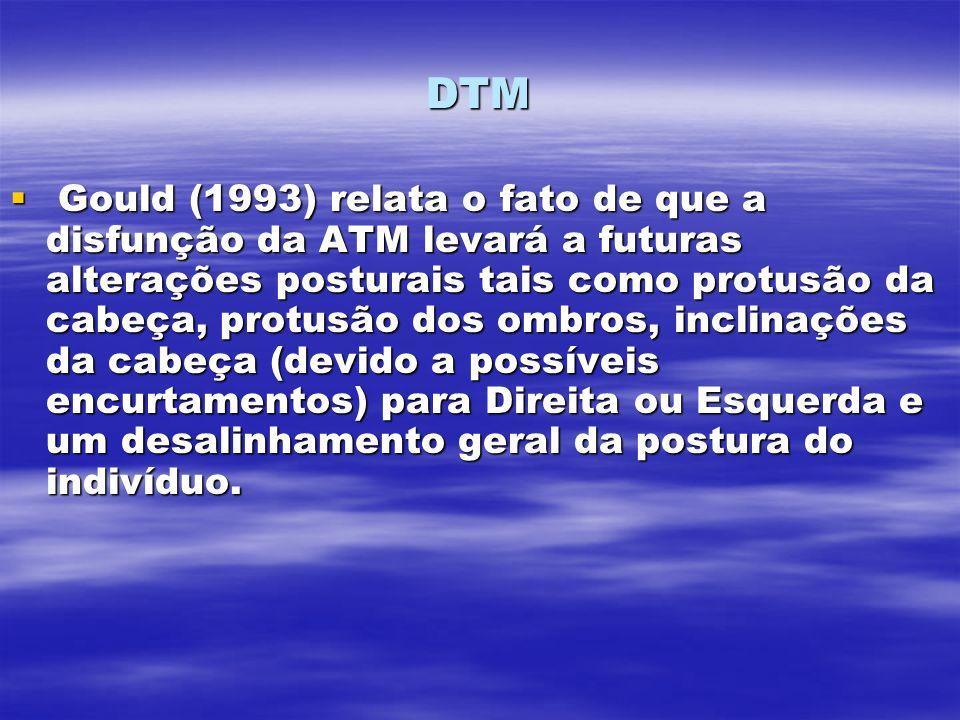 DTM Gould (1993) relata o fato de que a disfunção da ATM levará a futuras alterações posturais tais como protusão da cabeça, protusão dos ombros, incl