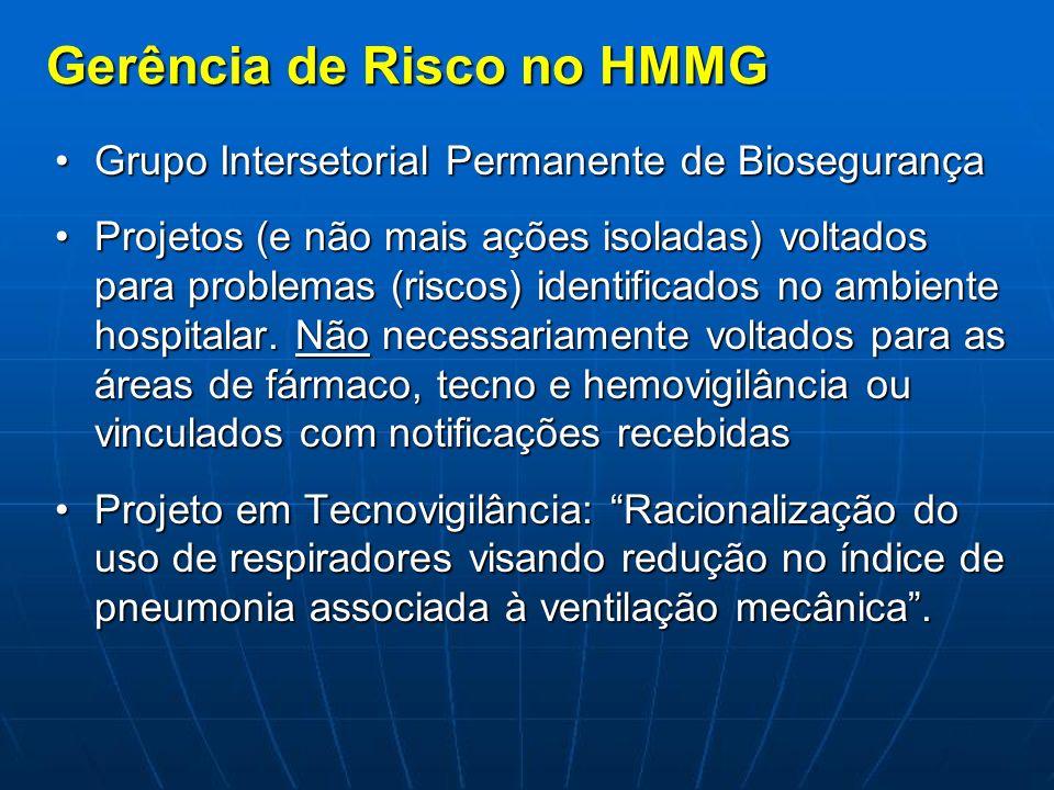 Gerência de Risco no HMMG Grupo Intersetorial Permanente de BiosegurançaGrupo Intersetorial Permanente de Biosegurança Projetos (e não mais ações isol
