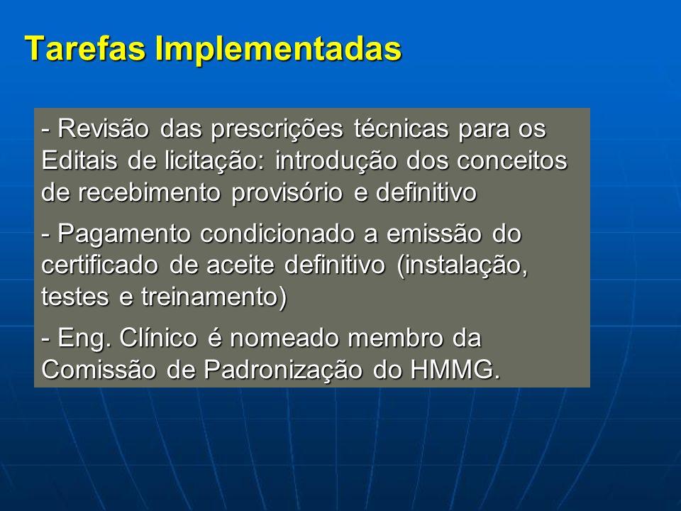 Tarefas Implementadas - Revisão das prescrições técnicas para os Editais de licitação: introdução dos conceitos de recebimento provisório e definitivo
