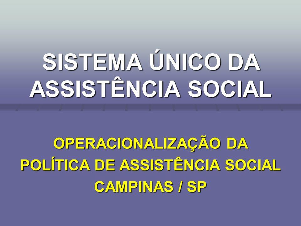 SISTEMA ÚNICO DA ASSISTÊNCIA SOCIAL OPERACIONALIZAÇÃO DA POLÍTICA DE ASSISTÊNCIA SOCIAL CAMPINAS / SP