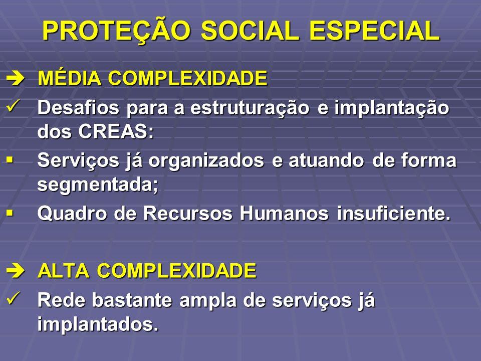 PROTEÇÃO SOCIAL ESPECIAL MÉDIA COMPLEXIDADE MÉDIA COMPLEXIDADE Desafios para a estruturação e implantação dos CREAS: Desafios para a estruturação e im