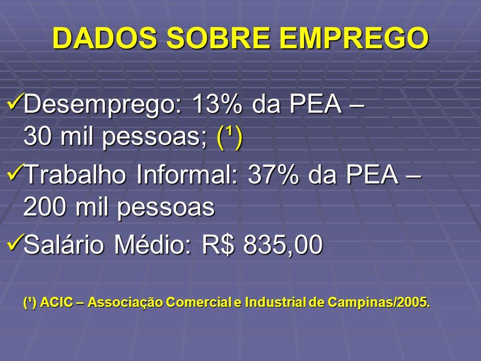 DADOS SOBRE EMPREGO Desemprego: 13% da PEA – 30 mil pessoas; (¹) Desemprego: 13% da PEA – 30 mil pessoas; (¹) Trabalho Informal: 37% da PEA – 200 mil