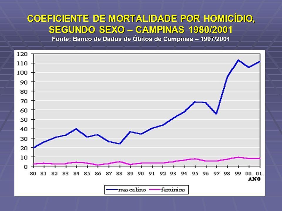 COEFICIENTE DE MORTALIDADE POR HOMICÍDIO, SEGUNDO SEXO – CAMPINAS 1980/2001 Fonte: Banco de Dados de Óbitos de Campinas – 1997/2001