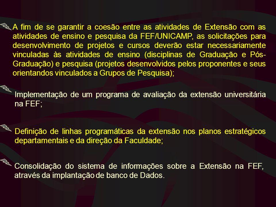 A fim de se garantir a coesão entre as atividades de Extensão com as atividades de ensino e pesquisa da FEF/UNICAMP, as solicitações para desenvolvime