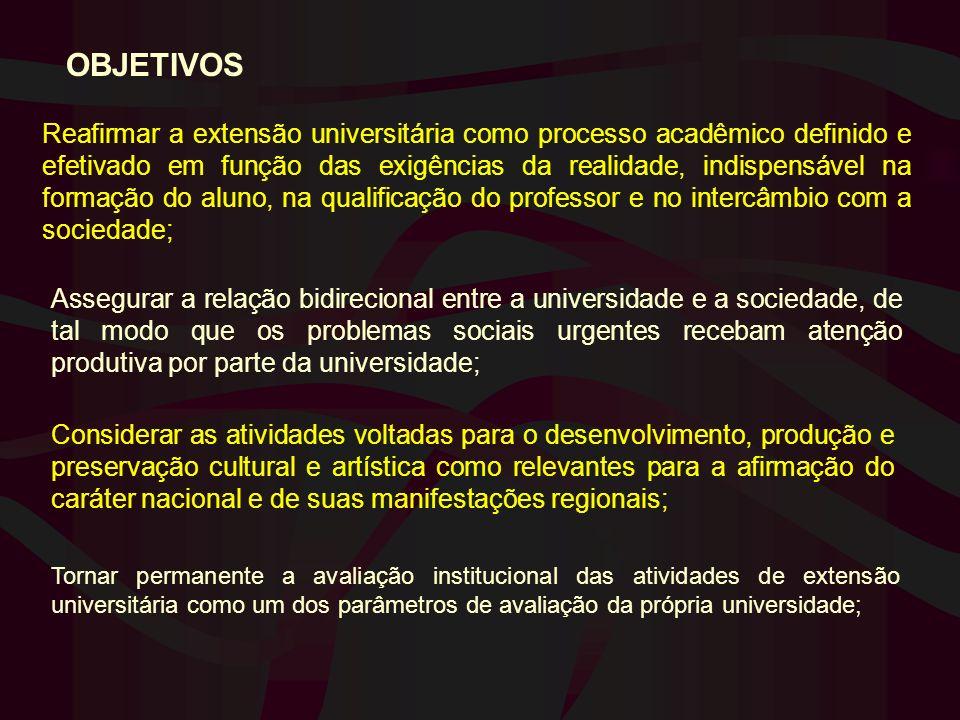 OBJETIVOS Reafirmar a extensão universitária como processo acadêmico definido e efetivado em função das exigências da realidade, indispensável na form