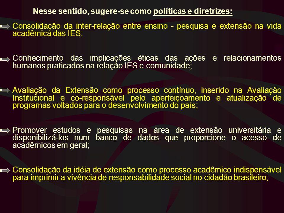 Nesse sentido, sugere-se como políticas e diretrizes: Consolidação da inter-relação entre ensino - pesquisa e extensão na vida acadêmica das IES; Conh