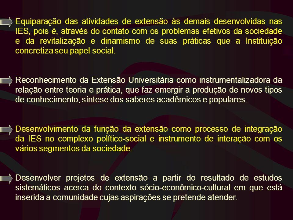 Equiparação das atividades de extensão às demais desenvolvidas nas IES, pois é, através do contato com os problemas efetivos da sociedade e da revital