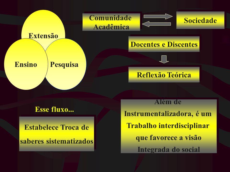 Extensão PesquisaEnsino Esse fluxo... Comunidade Acadêmica Comunidade Acadêmica Sociedade Docentes e Discentes Reflexão Teórica Estabelece Troca de sa