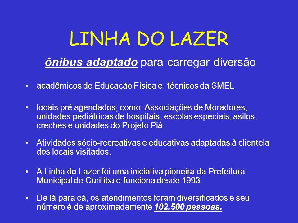 LINHA DO LAZER ônibus adaptado para carregar diversão acadêmicos de Educação Física e técnicos da SMEL locais pré agendados, como: Associações de Mora