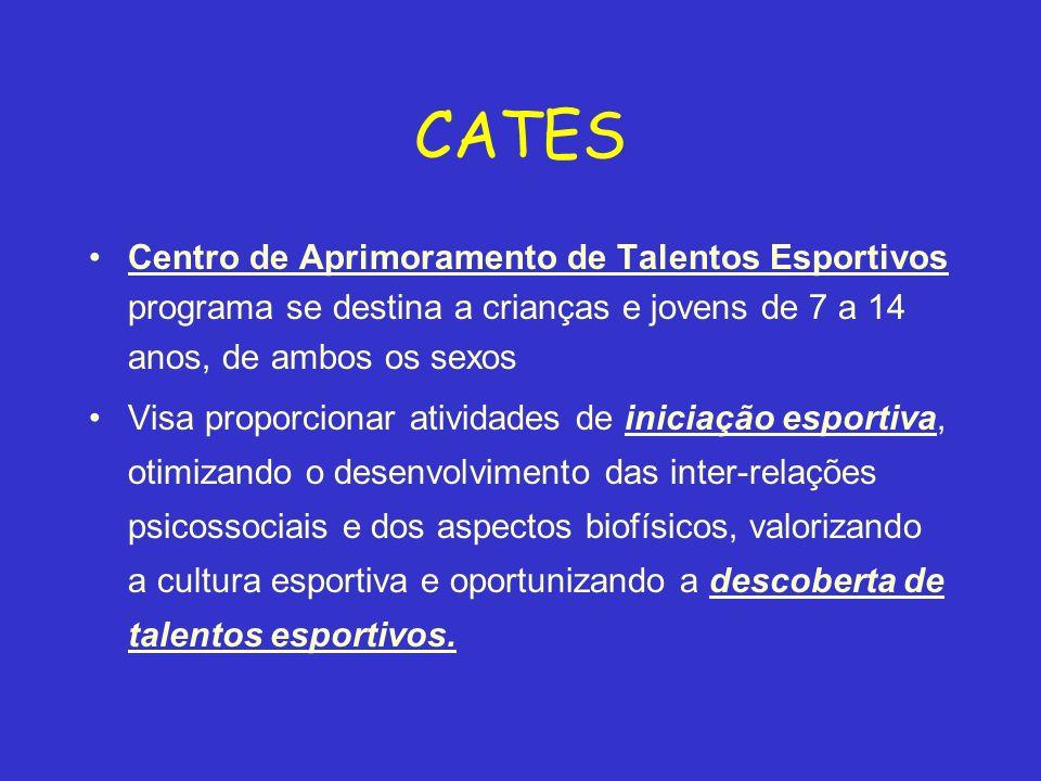 CATES Centro de Aprimoramento de Talentos Esportivos programa se destina a crianças e jovens de 7 a 14 anos, de ambos os sexos Visa proporcionar ativi
