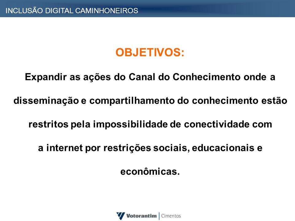 INCLUSÃO DIGITAL CAMINHONEIROS OBJETIVOS: Expandir as ações do Canal do Conhecimento onde a disseminação e compartilhamento do conhecimento estão rest