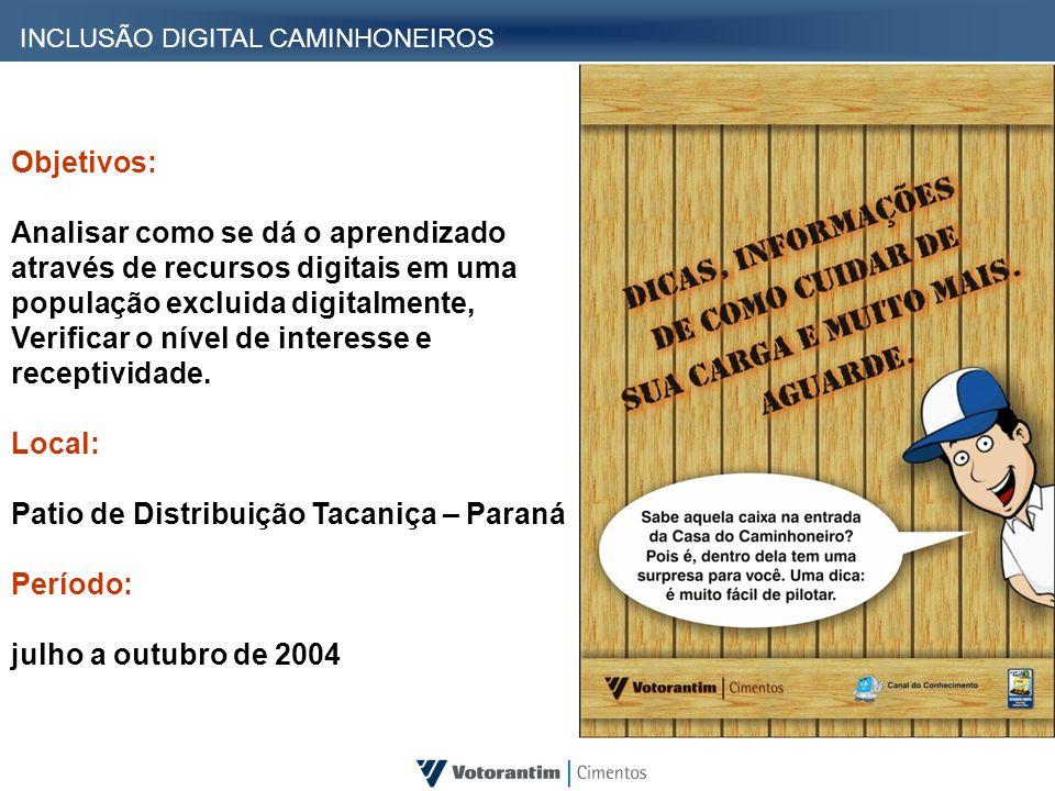 INCLUSÃO DIGITAL CAMINHONEIROS Objetivos: Analisar como se dá o aprendizado através de recursos digitais em uma população excluida digitalmente, Verif
