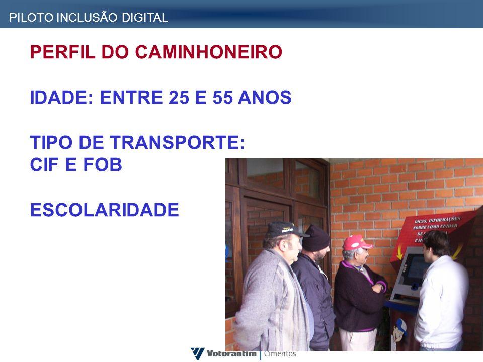 PERFIL DO CAMINHONEIRO IDADE: ENTRE 25 E 55 ANOS TIPO DE TRANSPORTE: CIF E FOB ESCOLARIDADE PILOTO INCLUSÃO DIGITAL