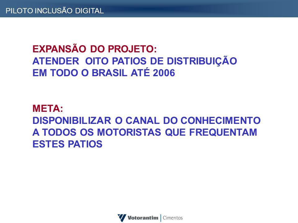 EXPANSÃO DO PROJETO: ATENDER OITO PATIOS DE DISTRIBUIÇÃO EM TODO O BRASIL ATÉ 2006 META: DISPONIBILIZAR O CANAL DO CONHECIMENTO A TODOS OS MOTORISTAS