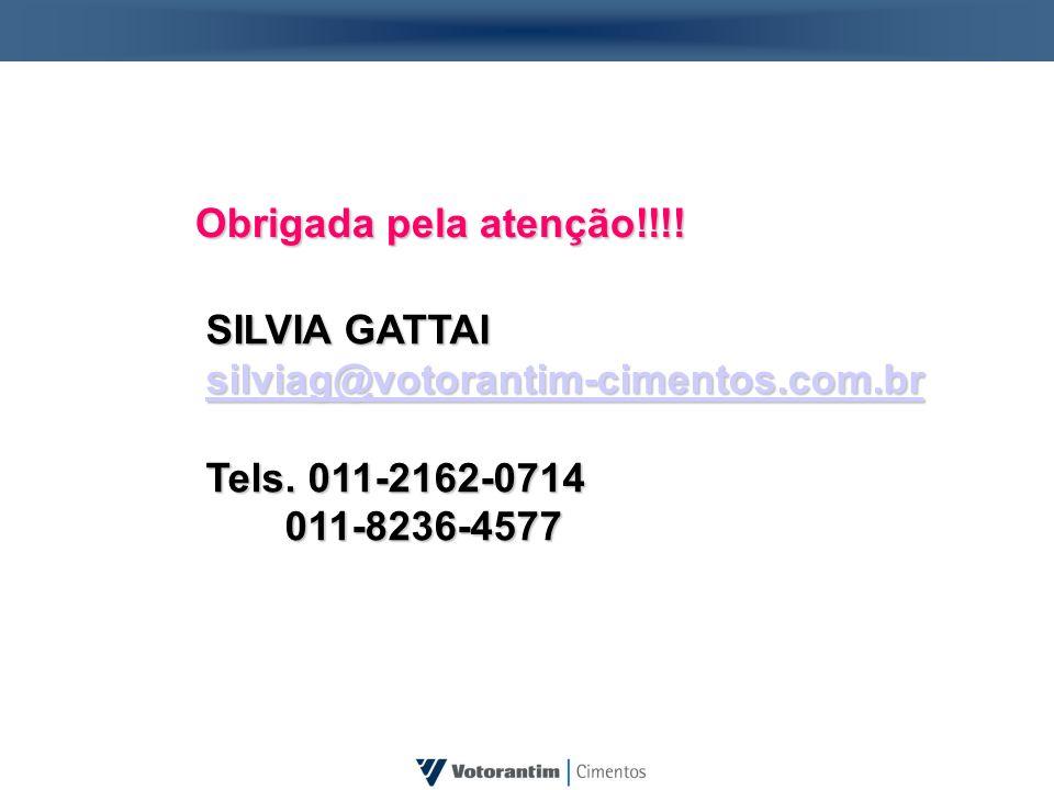 Obrigada pela atenção!!!! SILVIA GATTAI silviag@votorantim-cimentos.com.br Tels. 011-2162-0714 011-8236-4577 011-8236-4577
