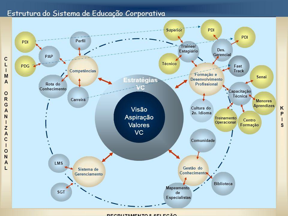 Estrutura do Sistema de Educação Corporativa Estratégias VC Visão Aspiração Valores VC Competências Gestão do Conhecimento Formação e Desenvolvimento