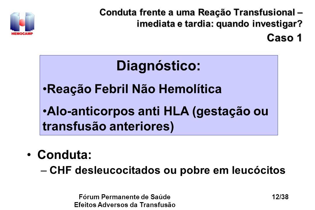 Fórum Permanente de Saúde Efeitos Adversos da Transfusão 12/38 Conduta frente a uma Reação Transfusional – imediata e tardia: quando investigar? Caso