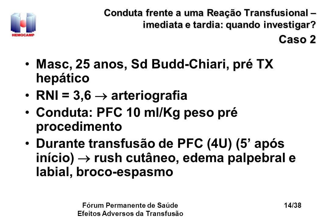 Fórum Permanente de Saúde Efeitos Adversos da Transfusão 14/38 Conduta frente a uma Reação Transfusional – imediata e tardia: quando investigar? Caso