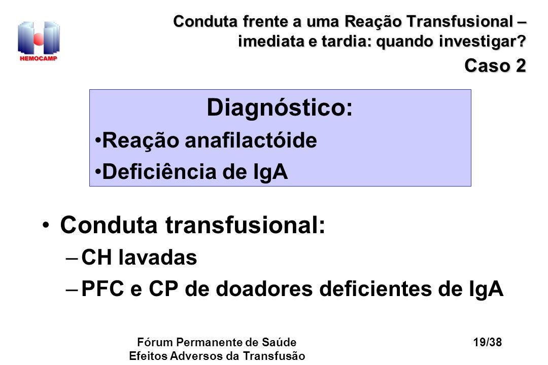 Fórum Permanente de Saúde Efeitos Adversos da Transfusão 19/38 Conduta frente a uma Reação Transfusional – imediata e tardia: quando investigar? Caso