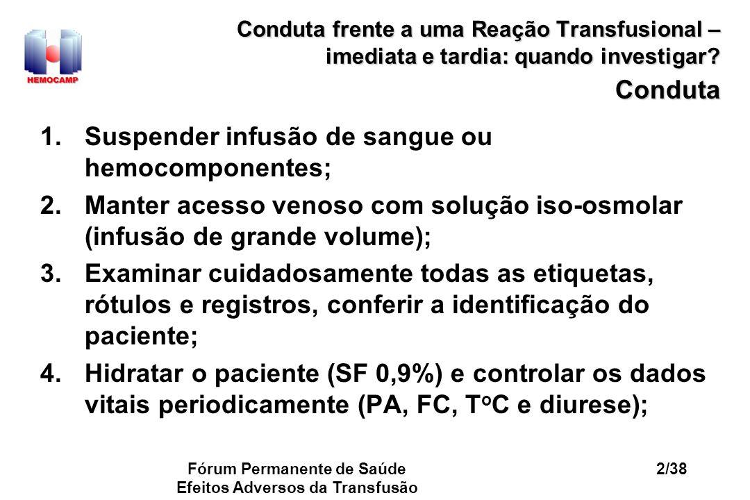 Fórum Permanente de Saúde Efeitos Adversos da Transfusão 33/38 Conduta frente a uma Reação Transfusional – imediata e tardia: quando investigar.