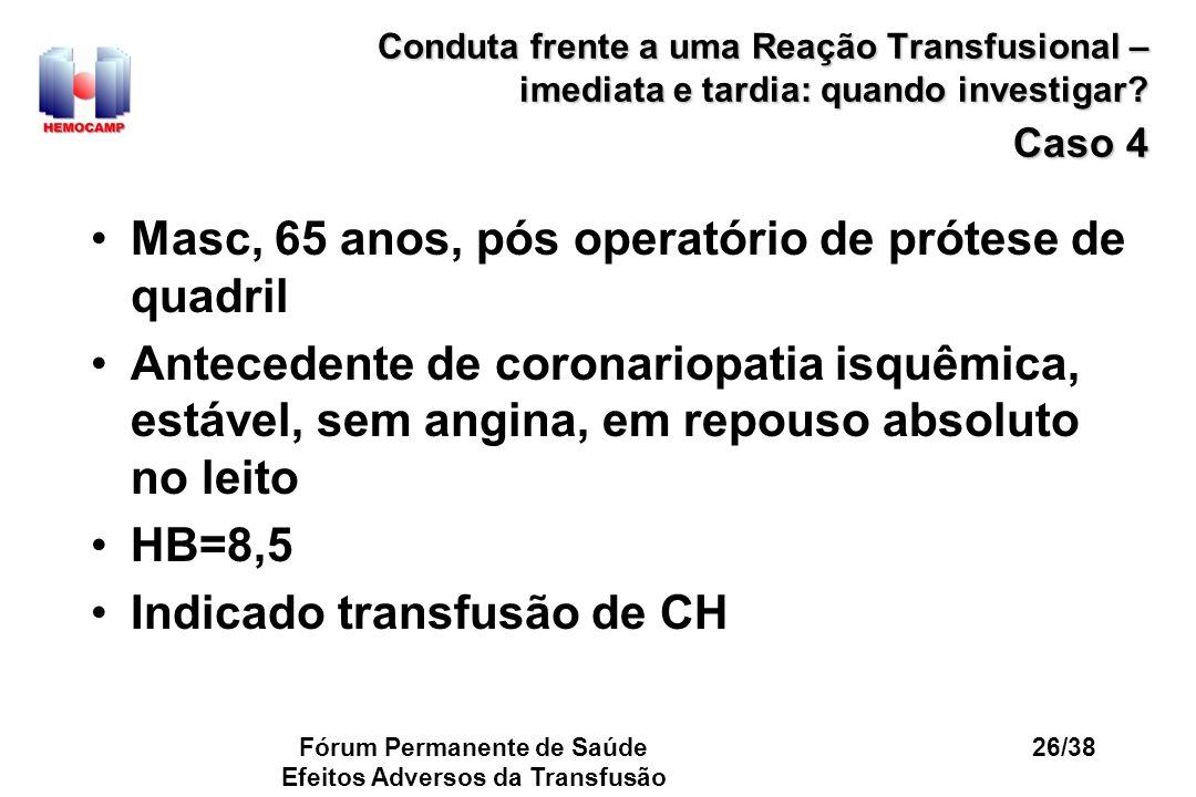 Fórum Permanente de Saúde Efeitos Adversos da Transfusão 26/38 Conduta frente a uma Reação Transfusional – imediata e tardia: quando investigar? Caso