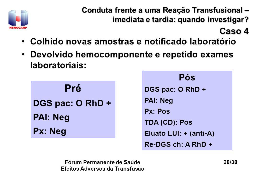 Fórum Permanente de Saúde Efeitos Adversos da Transfusão 28/38 Conduta frente a uma Reação Transfusional – imediata e tardia: quando investigar? Caso