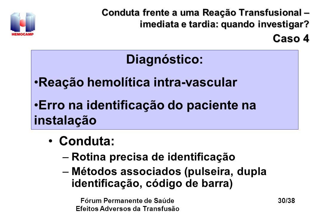 Fórum Permanente de Saúde Efeitos Adversos da Transfusão 30/38 Conduta frente a uma Reação Transfusional – imediata e tardia: quando investigar? Caso