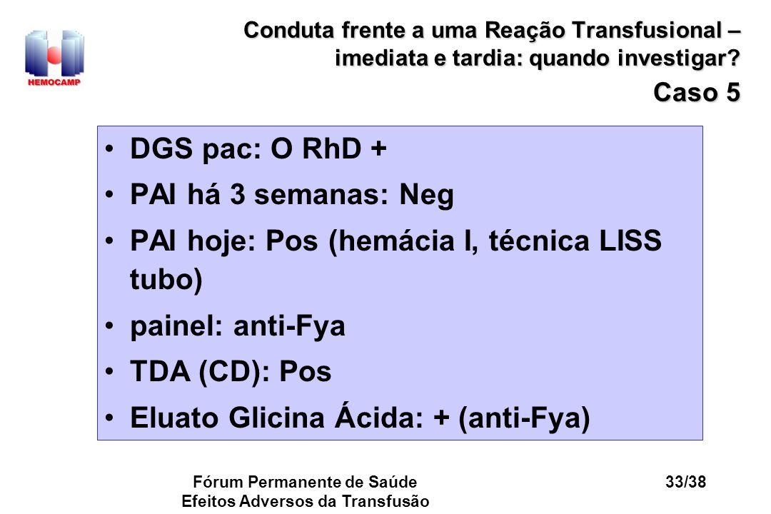 Fórum Permanente de Saúde Efeitos Adversos da Transfusão 33/38 Conduta frente a uma Reação Transfusional – imediata e tardia: quando investigar? Caso