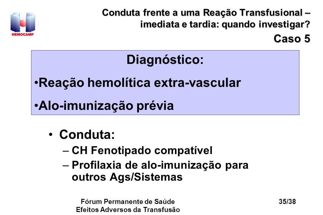 Fórum Permanente de Saúde Efeitos Adversos da Transfusão 35/38 Conduta frente a uma Reação Transfusional – imediata e tardia: quando investigar? Caso